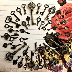 40 Brass Steampunk Skeleton Keys Gothic Bridesmaid Gift Accent Decor Ornate New Vintage Antique Beads Pendant Charms Jewelry Craft Chime