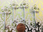 25 Large New Vintage Look Silver Keys 2.5