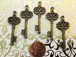Skeleton Keys Brass Double Heart Medium 1.75