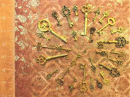40 PC Wholesale Skeleton Keys Bright Gold Steampunk Purse Zipper Light Pull Fob Ring Keychain DIY Lot Set Lucky Charm Gift